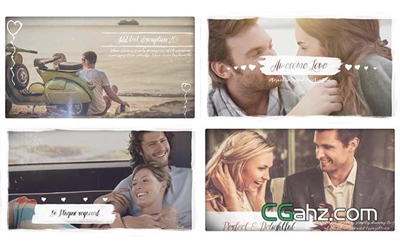 清新涂鸦元素装饰的唯美爱情照片展示效果AE模板