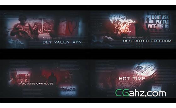 暗黑风图文排版样式的电影预告片AE模板