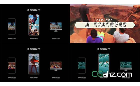 动感旅行主题Vlog视频开场动画AE模板