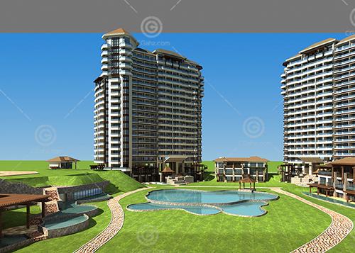豪华欧式高层住宅小区3D模型下载