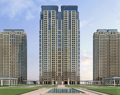 现代豪华的高层住宅小区3D模型下载