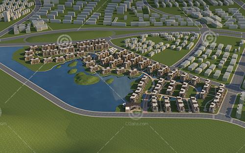 河邊簡單的歐式多層住宅區3D模型下載