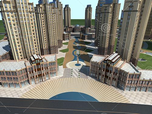 artdeco风格的高层住宅小区模型下载