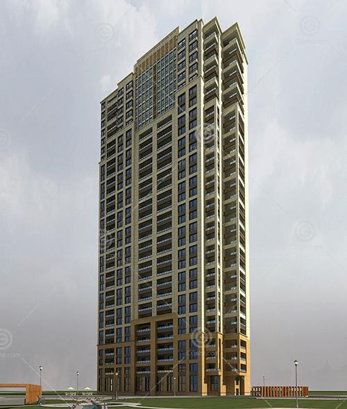 現代簡單的獨棟高層住宅3D模型下載