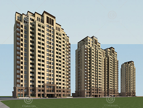 欧式高层住宅区3D模型下载