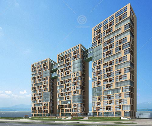 帶有過道的三棟高層住宅3D模型下載