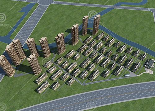 法式高层多层组合住宅小区建筑模型下载