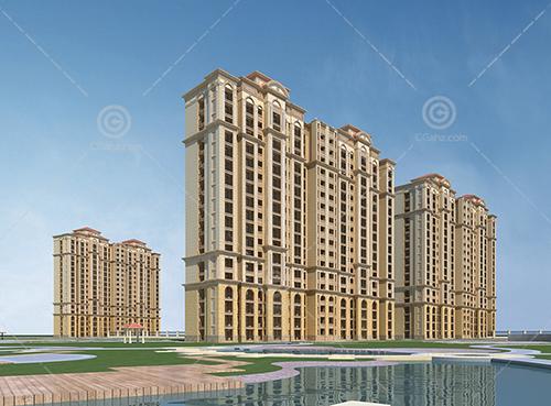 河边的豪华欧式高层住宅小区3D模型下载