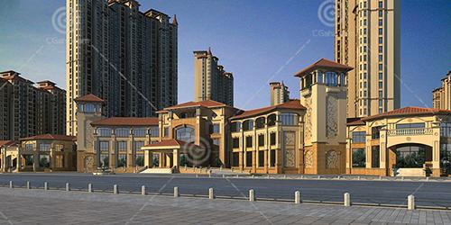 豪华欧式高层住宅小区建筑模型下载