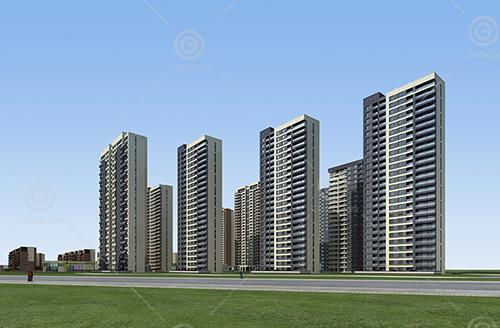 现代简单的高层住宅小区建筑模型下