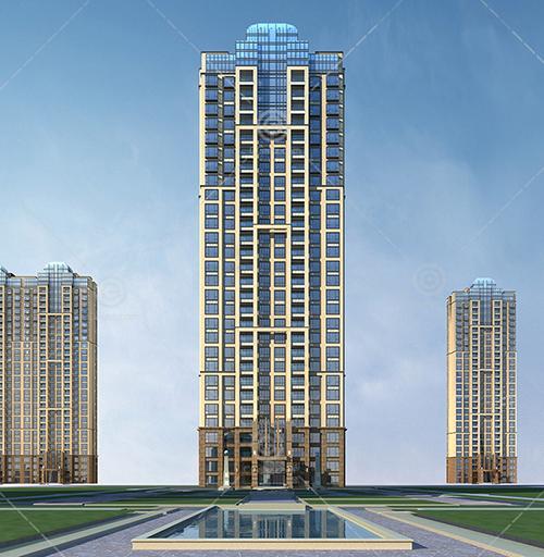 带有泳池的现代高层住宅区3D模型下载