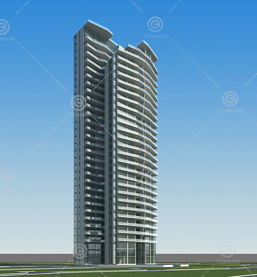 現代簡單的高層住宅建筑模型下載