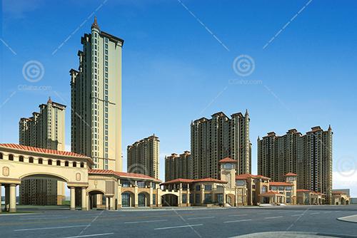 欧式的高层住宅小区3D模型下载