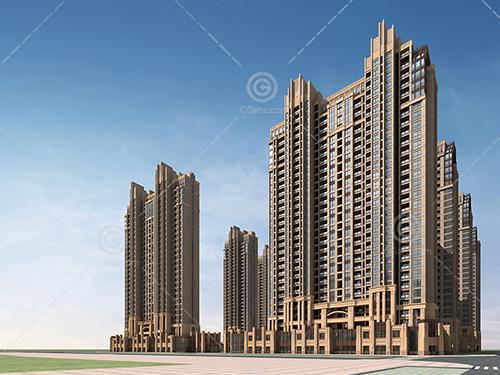 artdeco风格的高层住宅小区建筑模型下载