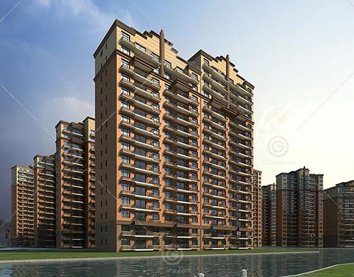河边的artdeco风格的高层住宅小区3D模型下载