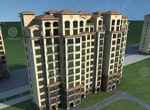 欧式高层住宅建筑模型下载