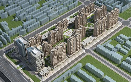 沿街欧式高层住宅小区3D模型下载