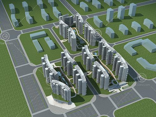 弧形高层住宅3D模型下载