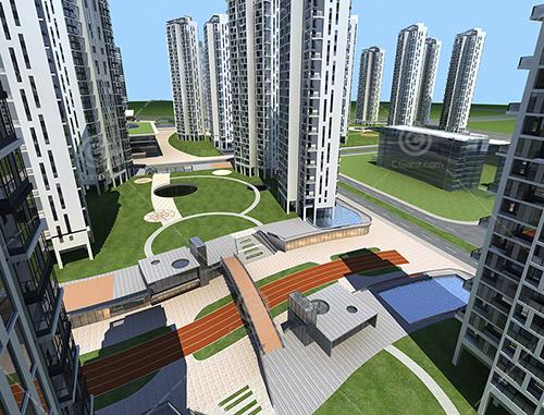 现代简单的高层住宅小区建筑3D模型下载