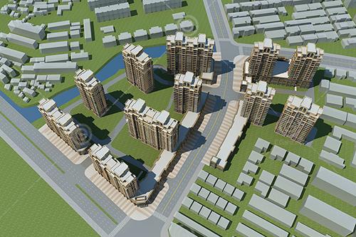 现代高层住宅小区建筑模型下载