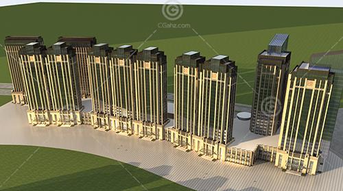 现代沿街高层住宅小区3D模型下载