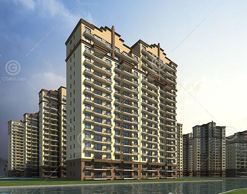 artdeco风格的高层住宅小区3D模型下载