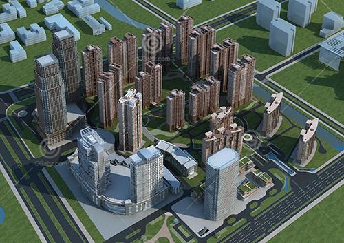 高層住宅規劃區3D模型下載
