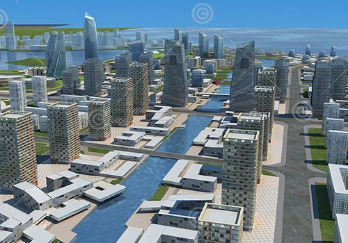 现代城市规划模型下载