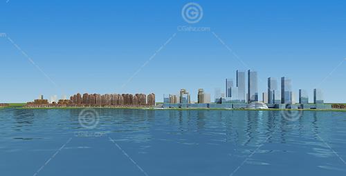 江邊城市住宅規劃3D模型下載
