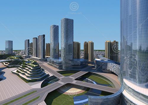 现代城市规划区3D模型下载