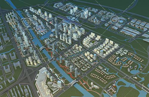 大型城市規劃片區3D模型下載