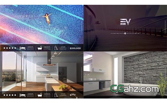 现代风格房地产或酒店的内容介绍AE模板