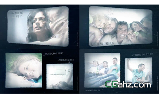 模拟幻灯片放映机效果的记忆相册图集AE模板