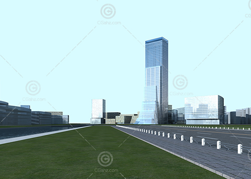 现代办公区规划3D模型下载