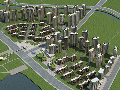 高层多层住宅小区建筑模型下载