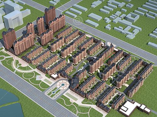 法式高层多层组合小区建筑模型下载