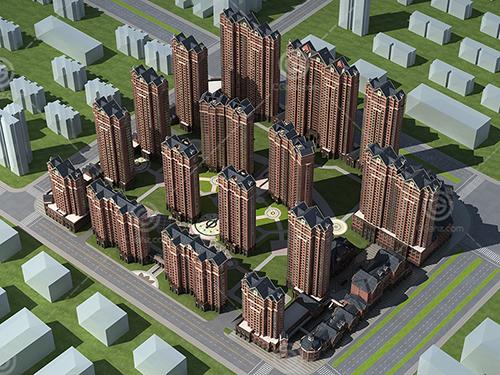 法式高层住宅小区3D模型下载