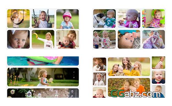 不同形状组合变换的家庭照片展示AE模板