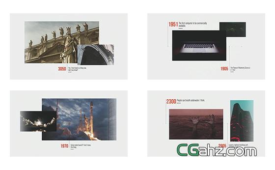 现代概念风格的时间线内容展示AE模板