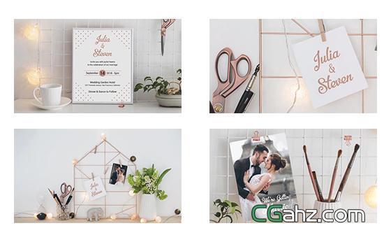 清新唯美的订婚或婚礼视频邀请函AE模板