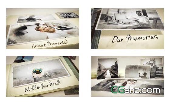 掉落记忆照片在页面上拼贴的三维相册AE模板