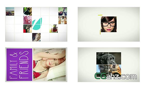 彩色画笔涂鸦的照片排版展示AE模板