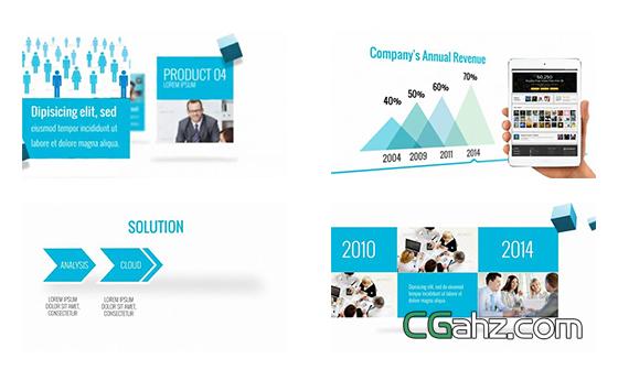 含多模块内容的现代企业宣传片AE模板