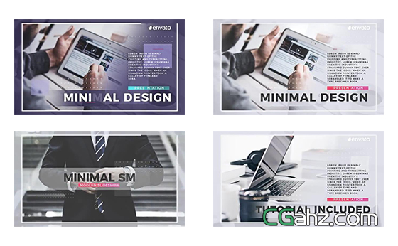 干净的企业商务内容幻灯片展示AE模