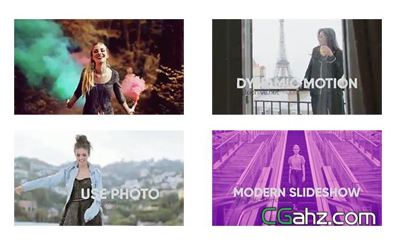 多个视频剪辑的时尚现代片头效果AE模板