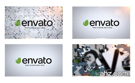 创意拼图标志入场动画特效AE模板