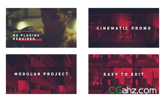 动感运动主题的视频影像剪辑展示AE模板