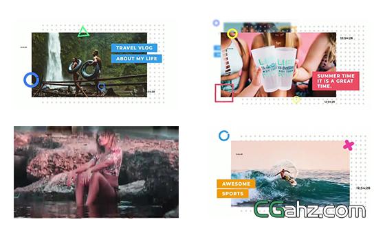 流行夏日幻燈片展示開場AE模板