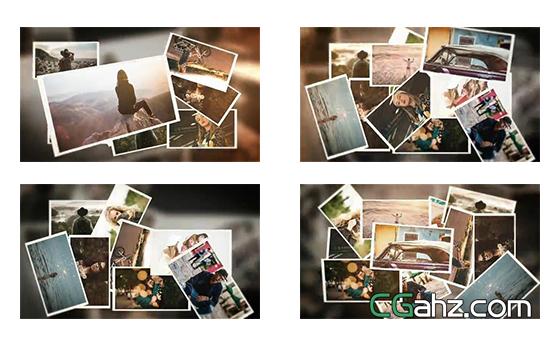 像卡片一样飞行展示的记忆照片AE模板