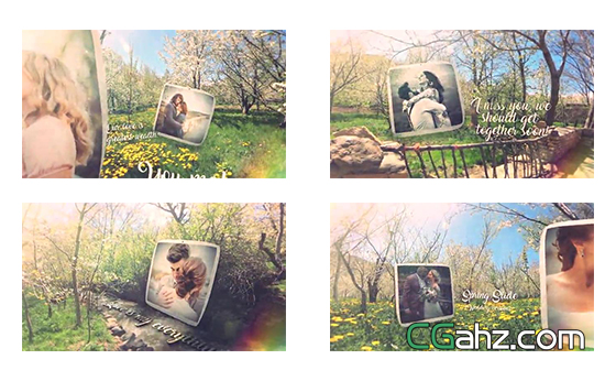 唯美春日林间的婚礼照片展示AE模板